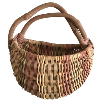 Woven Home made basket with Grapevine Handle