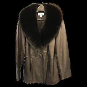 Lamb Skin Leather Coat with fur collar .