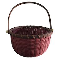Red Woven Basket with Wood Handle, Bottom, Rim