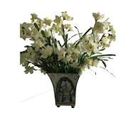 Square Tin Pot with Daffodils painted on all sides