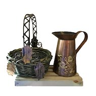 Copper Pitcher and Basket with leaves