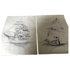 A Set of Black Ink Drawings of ships signed by Artist.