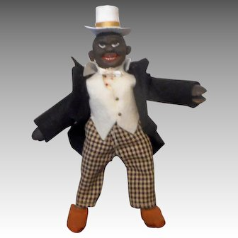 Schoenhut Humpty Dumpty Circus Black Dude with a Black Coat
