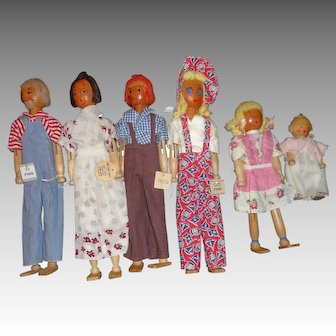 Schoenhut Pinn Family Dolls from the Emily Meyers Era (All Six)
