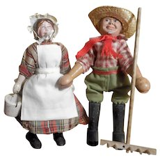 Schoenhut Farmer, Milkmaid, and Rake