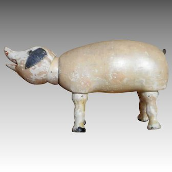 Schoenhut Pig with Glass Eyes and Ball Neck