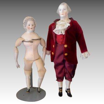 Emma Clear George and Martha Washington,  Bisque Doll Set