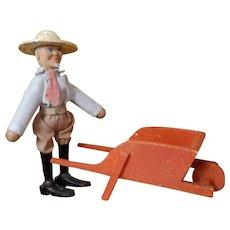 Schoenhut Farmer with Wheelbarrow