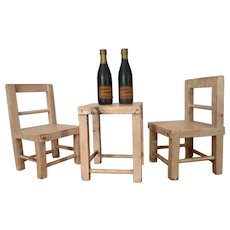 Schoenhut  Humpty Dumpty Circus Accessories - Table, (2) Chairs, (2) Champagne Bottles