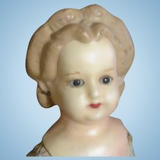 Beautiful Wax Over Papier-Mache Doll, 26 Inches
