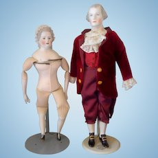 20 inch Emma Clear Martha and George Washington bisque dolls