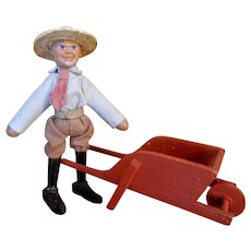 Schoenhut Farmer and Wheelbarrow set