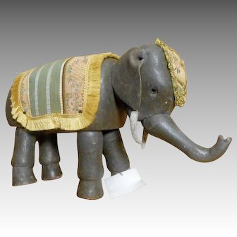 Schoenhut Glass Eye Elephant ONE with trunk, ears, and Blankets.