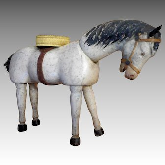 Schoenhut Humpty Dumpty Circus Horse TWO with Painted Eyes and Platform