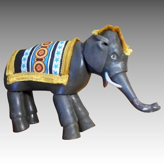Schoenhut Painted Eye Elephant ONE with trunk, ears, and Blankets.