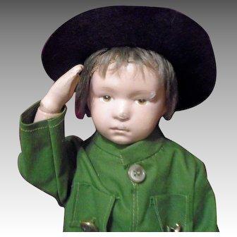 Schoenhut Character Face Boy Dressed as a World War I Soldier