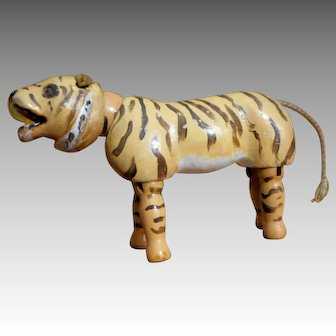 Schoenhut Humpty Dumpty Circus Tiger with Glass Eyes and Ball Neck