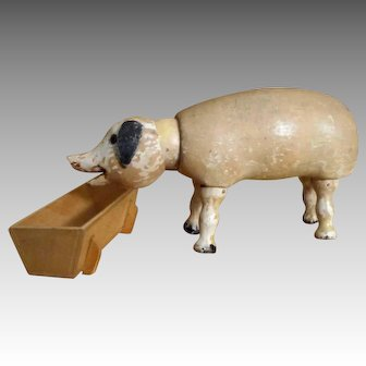 Schoenhut  Humpty Dumpty Circus Pig with Glass Eyes and Trough