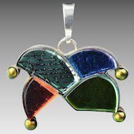 Sterling Pendant Jesters Hat with Colored Stones