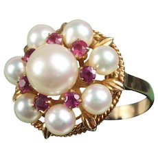 14K Rose Gold Pearl & Ruby Ring