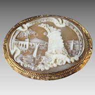 10K Gold Oval Cameo Pin