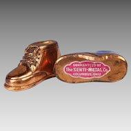 "Miniature 2"" Bronze Baby Shoes - Salemans' Sample"