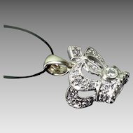 14K White Gold Diamond Crown Pendant