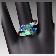 14K White Gold Opal & Blue Topaz Ring