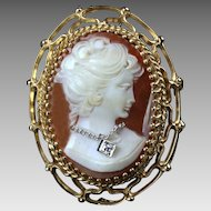 "Large 1 3/4"" - 14K Cameo with Diamond - Pin or Pendant"