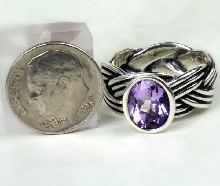 11e2878f1 Sterling Pandora Amethyst Ring : Goodbee Collectables | Ruby Lane