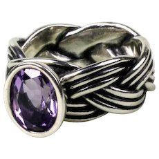 f8a1271fc Vintage Sterling Silver Pandora Tied Together Amethyst Ring ...