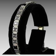 Vintage 14K White Gold Filigree Bracelet with Diamonds & Onyx