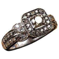 14K White Gold Chocolate & White Diamond Levian Ring