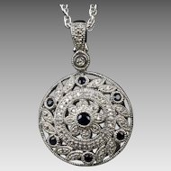 """Sterling Silver CZ Pendant and 20"""" Chain"""