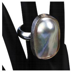 """Sterling Silver """"Blister Pearl"""" Ring"""
