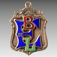 "10K Yellow Gold ""BLE"" -  Brotherhood of Locomotive Engineers,  Enameled Pendant - Watch Fob"