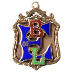 "10K Yellow Gold ""BLE"" -  Brotherhood of Locomotive Engineers,  Enameled Pendant - Watch Fob"