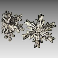 Pair of Gorham Sterling Christmas Snowflake Ornaments 1978