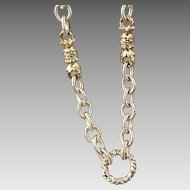 Sterling and Gold Plated Cable Link Diamond Necklace