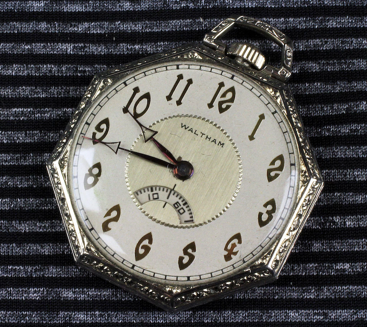 0723d95738463 14K White Gold Deco Waltham Pocket Watch with Secometer Window