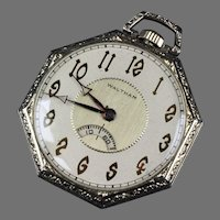 14K White Gold Deco Waltham Pocket Watch with Secometer Window