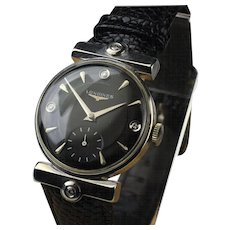 1950's 14K White Gold Longines Ambassador Model Wrist Watch with Diamonds