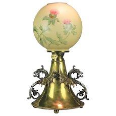 Brass B & H Style Antique Kerosene Lamp with Dragons and Handel Globe