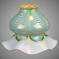 Antique Iridescent Art Nouveau Art Glass Pulled Feather Shade, Flared Bottom