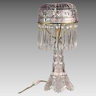 Rare Antique Signed HAWKES American Brilliant Period Cut Glass Lamp