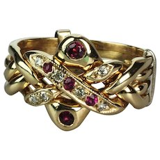 Gents Four Piece 14K Diamond and Ruby Puzzle Ring