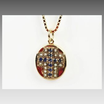 14K Cross Pendant with Pearls & Sapphires and Chain