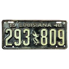 "Vintage 1948 Louisiana ""Pelican"" License Plate  # 293 809"