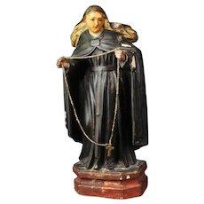 "Antique Santos of Nun Figure Statue Christian Icon Ca: 1890""s"