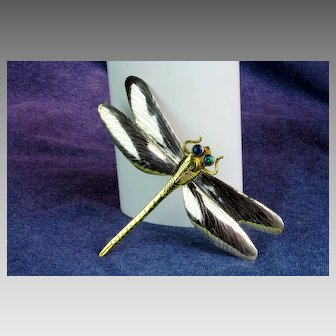 Sterling Silver and Brass Dragonfly Pin